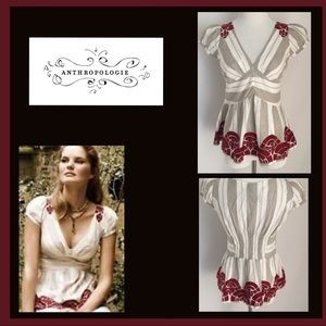 Anthropologie Lithe Peplum Embroidered Top size 4